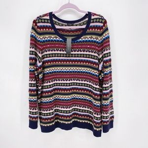 Talbots Multicolor Embellished Fair Isle Sweater